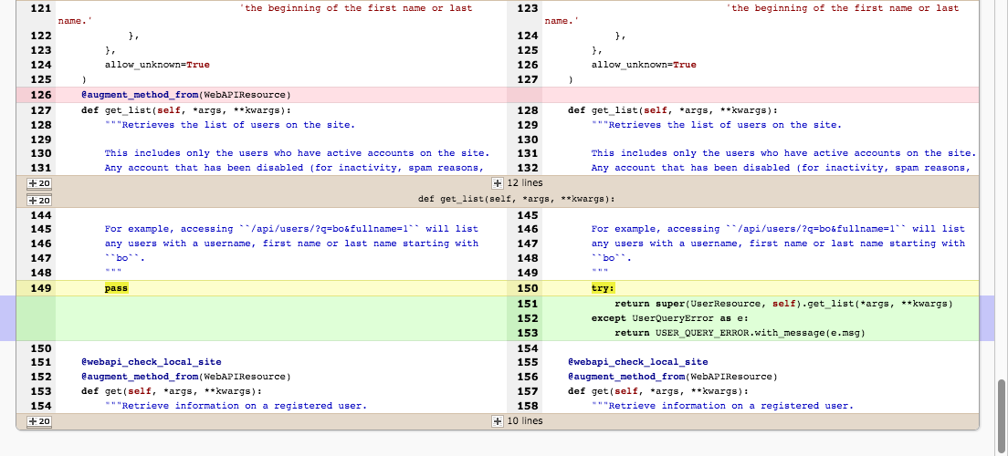 New diff chunk highlighter in Review Board 2.5